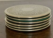 SET OF SIX VINTAGE SILVER PLATED ROUND DRINKS COASTERS