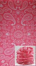 Pink Paisley FACE MASK Sun Shield Neck Gaiter Headband Bandana Du Rag Skull Cap