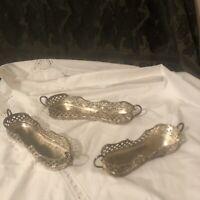 Vintage Set Of 3 Silverplate Flatware Utensil Caddy Holders For Buffet
