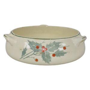 Roseville Pottery Creamware Holly 1910 Handled Bowl 316-6