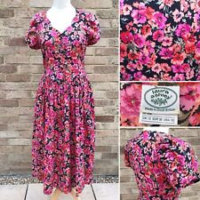 "Vintage Laura Ashley Tea Dress Bust 34"" Pink Floral Garden UK 8 10 Cotton 80s"