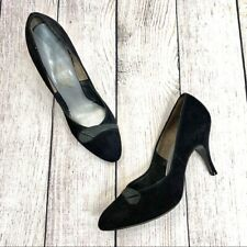 Vintage American Girl Shoe Black Suede Heels Pumps Size 7.5 Narrow