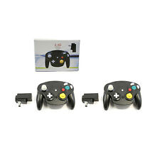 2 X Nintendo GameCube JET BLACK Wireless Wave Controller (Wii 2.4G Gamepad)