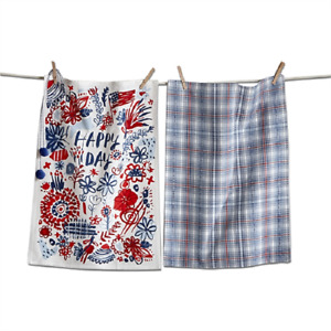 """Set of 2 Patriotic Kitchen Towels by Tag - """"HAPPY DAY"""" -  1 Print, 1 Plaid"""