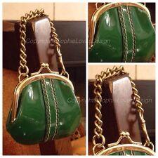 Coach 40504 RARE Kisslock Limited Edition Chain Strap Green Patent Leather Purse