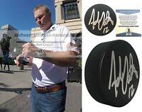 Adam Oates Signed Autograph Hockey Puck Bruins Oilers Flyers Proof Beckett BAS