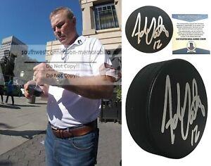 Adam Oates Signed Hockey Puck Bruins Oilers Flyers Proof Beckett BAS Autograph