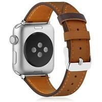 Genuine Leather Band with Stainless Steel Clasp for Apple Watch Series 1/2/3/4