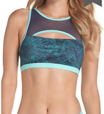 NWT ZELLA Teal Reef Storm Print Keyhole Sports Bra Swim Bikini Top Size Large