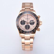 39mm Parnis Sapphire Quartz Movement Men's Chronograph Wristwatch Rose Gold Case