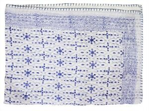 Traditional Indian Cotton Handmade Nursery Baby Blanket Bed Cover Kantha Quilt