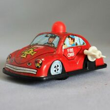 Vintage TIN METAL TOY WIND UP FIRE CHIEF CAR Fire Fighter Truck Dog WORKS!