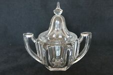 Art Deco Glass 'Chippendale' Lidded Sugar Bowl by Davidson