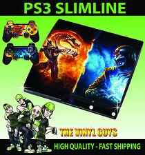 PLAYSTATION PS3 SLIM MORTAL KOMBAT SCORPION SUB ZERO STICKER SKIN & 2 PAD SKINS