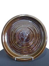 """Pottery Barn Large Brown Ceramic 15.5"""" Thick Heavy Round Serving Platter Dish"""