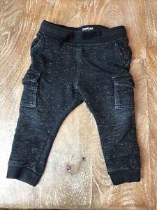 OshKosh B'gosh Space Black Joggers Cargo Pockets Toddler Boy Soft Waistband  18M