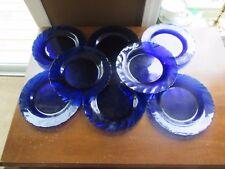 8 -DURALEX BORMIOLI ROCCO BLUE COBALT SWIRL DINNERWARE FRENCH Salad Plates