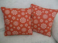 "LACE SNOWFLAKES BY JOHN LEWIS 1 PAIR OF 18"" CUSHION COVERS DOUBLE SIDED & PIPED!"