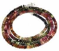 "Multi Tourmaline Stone 4-5 mm Rondelle Faceted Beads 18"" Beaded Choker Necklace"