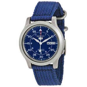 Seiko 5 Blue Dial Blue Canvas Men's Watch SNK807