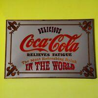 Vintage Coca-Cola Mirror Delicious Relieves Fatigue Fleur De Lis Wall Display