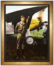 Guy Johnson ORIGINAL Painting Signed Art Charles Lindbergh Spirit of St. Louis