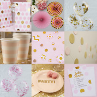 PINK AND GOLD  GIRL'S BIRTHDAY / BABY SHOWER -  DECORATIONS AND TABLEWARE