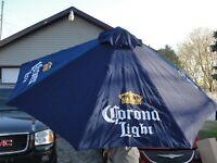 CORONA LIGHT BEER 👑 PATIO MARKET UMBRELLA BLUE CANVAS WOODEN POST 7' NEW IN BOX