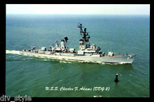 USS Charles F. Adams DDG-2 postcard  US Navy  guided missile destroyer