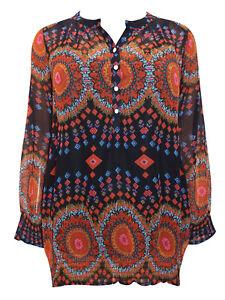New Joe Browns plus size Boho Festival Long Sleeve Pattern Top kaftan tunic