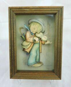 Hummel The Little Fiddler Creative Framed Picture Three Dimensional Vintage Art