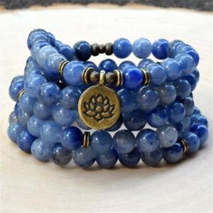 8mm Blue Stone 108 Beads Mala Buddhist Bracelet Necklace Buddhism Bless Monk