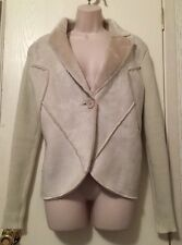 Ivory Ribbed Sweater Jacket Large Microfiber Faux Fur Lined Coat Soft Warm Cozy