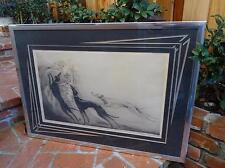 LOUIS ICART COURSING II 1929 Print Framed 2 art deco DOGS/WOMAN ART etching RARE
