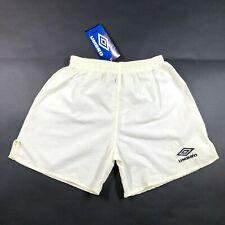 NWT Vintage 90s Umbro Nylon Solid White Yellow Soccer Shorts Youth XL Made USA