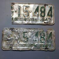 Washington State 1947 Vintage License Plates Set G-15-484, G15484 Original Pair