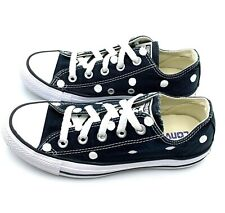 Converse Women 6 Men 4 BLACK Polka Dot Chuck Taylor All-Star Shoes M9166