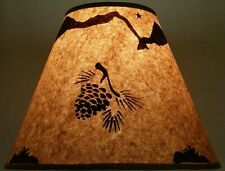 """PINECONE LAMP SHADE RUSTIC PARCHMENT PAPER 12"""" CLIP ON LODGE RANCH LOG CABIN"""