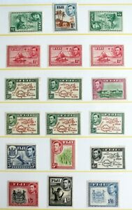 Fiji – 1938 Set to 1/6 – PLUS Perf. Varieties Cat £80+ - LM Mint (R1)