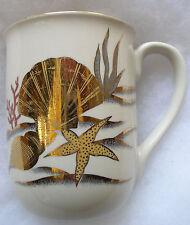 Otagiri Undersea/Seashell Scene Coffee Cup Mug, Gold on White