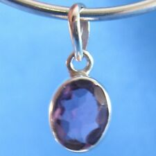 Purple Amethyst Faceted Oval .925 Sterling Silver Pendant