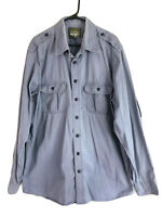 Vintage Eddie Bauer Safari Button Up Shirt Mens XLT Blue Gray Long Sleeve Cotton