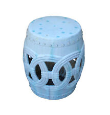 Chinese White Coin Pattern Round Clay Ceramic Garden Stool cs3299