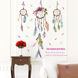 Dream Catcher Wall Decal Girls Living Room Removable Fun Floating Feather Flower