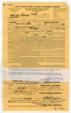 Jack Sharkey twice signed autographed contract! Boxer! Guaranteed Authentic!