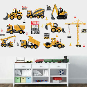 Boys Construction Site Wall Stickers Kids Nursery Bedroom Trucks Digger Decals
