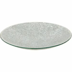 SILVER CRACKLED GLASS SPARKLE MOSAIC DECORATIVE PLATE CANDLE HOME ACCESSORY