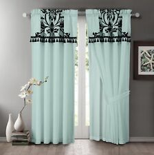 Chezmoi Collection Aqua Blue Black Flocked Floral Faux Silk Window Curtain Set