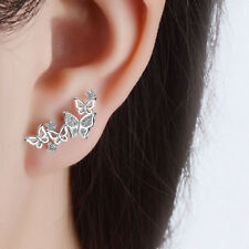 1pair Women Lady Elegant 925 Silver Zircon Butterfly Ear Stud Earrings Fashion