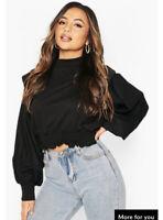 Influence Sweatshirt Volume Sleeve Ruched Waist Jumper Black Size 8,12,14 US22